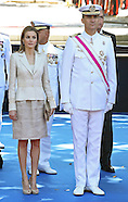 Prince Felipe & Princess Letizia Attend Military Parade