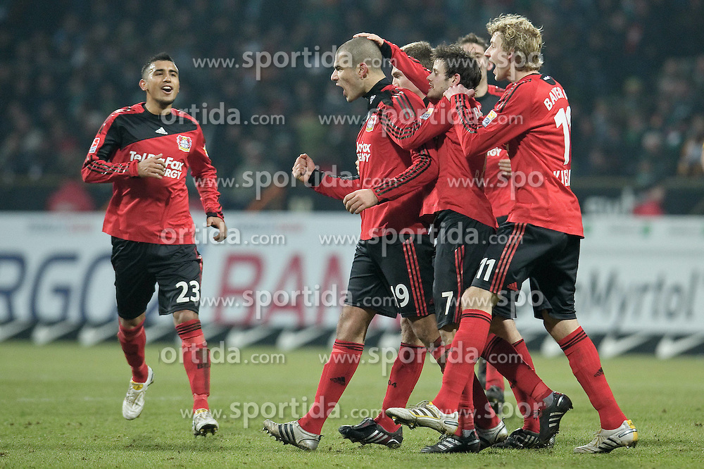 21.02.2010, Weser Stadion, Bremen, GER, 1.FBL, Werder Bremen vs Bayer Leverkusen, im Bild  Jubel 0:1 durch Eren Derdiyok ( Leverkusen #19 )    EXPA Pictures © 2010, PhotoCredit: EXPA/ nordphoto/ Kokenge / for Slovenia SPORTIDA PHOTO AGENCY.