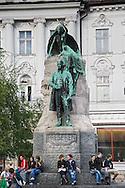 Statue of France Preseren, a Slovenian poet and national hero, Presernov trg. Ljubljana, Slovenia