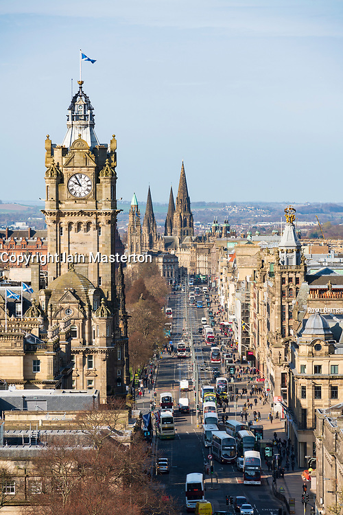 The famous view of Edinburgh Princes Street from Calton Hill, Edinburgh, Scotland ,UK