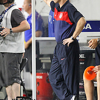 USA head coach Bob Bradley during a  CONCACAF Gold Cup soccer match between the United States and Panama on Saturday, June 11, 2011, at Raymond James Stadium in Tampa, Fla. (AP Photo/Alex Menendez)