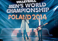 Lady Pank (a popular Polish rock band (L) Janusz Panasewicz and (R) Jan Borysewicz) performed song during the official draw of FIVB Volleyball Men's World Championship Poland 2014 at Congress Hall in Palace of Culture and Science in Warsaw on January 27, 2014.<br /> <br /> Poland, Warsaw, January 27, 2014<br /> <br /> Picture also available in RAW (NEF) or TIFF format on special request.<br /> <br /> For editorial use only. Any commercial or promotional use requires permission.<br /> <br /> Mandatory credit:<br /> Photo by © Adam Nurkiewicz / Mediasport