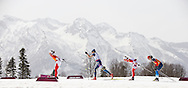 Margarita Gorbounova and guide Andrea Bundon ski in the women's 15k visually impaired cross country ski competition on March 10, 2014 at the Laura Cross Country Ski and Biathlon Centre in Krasnaya Polyanna during the XI Paralympic Winter Games in Sochi, Russia.