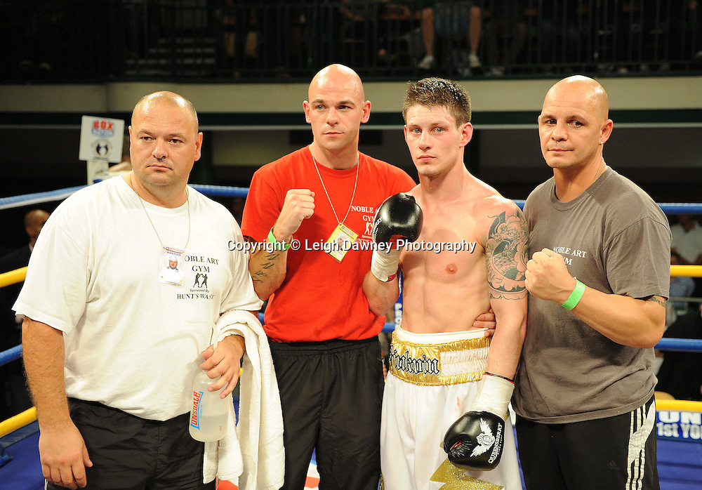 Liam Shinkwin (pictured with team) after defeating Sid Razak at York Hall, Bethnal Green, London on Friday 30th September 2011. Boxnation.tv's debut live TV Channel 456 on Sky. Photo credit: © Leigh Dawney. Queensberry Promotions.