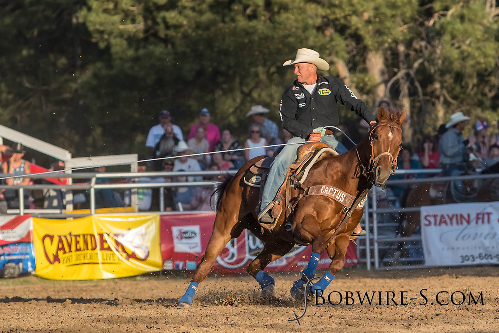Header Trent Barrett turns the steer in his team roping run during the second performance of the Elizabeth Stampede on Saturday, June 2, 2018.