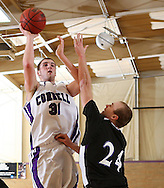 Cornell's Riley Larson (31) shoots over Loras' Jake Oeth (24) in the second half of their IIAC Tournament Semifinal game at Cornell College in Mount Vernon on Thursday February 26, 2009. Cornell won 65-60.