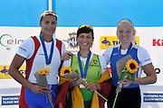 Varese,  ITALY. 2012 FISA European Championships, Lake Varese Regatta Course. ..Women's Single Sculls Medalist. .Left Silver medalist, SRB W1X, Iva OBRADOVIC, .Centre Gold Medalist, LTU W1X Donata VISTARTAITE and Right Bronze Medalist EST W1X Kaisa PAJUSALU. ..13:44:40  Sunday  16/09/2012 .....[Mandatory Credit Peter Spurrier:  Intersport Images]  ..2012 European Rowing Championships Rowing, European,  2012 010890.jpg.....