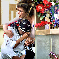"fragm ""Judgement Day""-At The Oklahoma Bombing Site, Deb Ferrell-Lynn (who lost her cousin Susan ferrell) hugs a sitting Constance Favorite (who lost her daughter LaKesha Levy) just moments after Timothy McVeigh's execution."