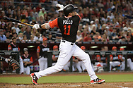 PHOENIX, AZ - AUGUST 26:  A.J. Pollock #11 of the Arizona Diamondbacks wearing a nickname-bearing jersey hits solo home run in the first inning against the San Francisco Giants at Chase Field on August 26, 2017 in Phoenix, Arizona.  (Photo by Jennifer Stewart/Getty Images)