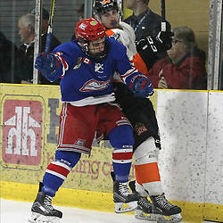 COCHRANE, ON - MAY 4: Nicholas Aromatario #6 of the Oakville Blades makes the hit on Mathew Eardley #44 of the Hearst Lumberjacks  during the third period on May 4, 2019 at Tim Horton Events Centre in Cochrane, Ontario, Canada.<br /> (Photo by Tim Bates / OJHL Images)