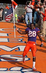 November 21, 2009; Clemson, SC, USA; Clemson Tigers running back C.J. Spiller (28) runs down the hill on senior day before the game against the Virginia Cavaliers at Memorial Stadium. Clemson defeated Virginia 34-21.