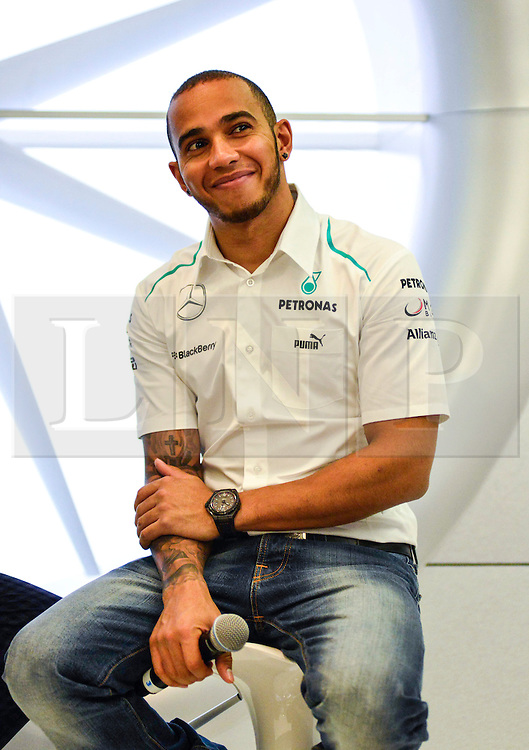 © London News Pictures. 25/06/2013. London, UK. Mercedes F1 driver Lewis Hamilton speaking at a IWC watches promotion at Selfridges store in London. Photo credit : Abdel Abdulai/LNP