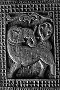 Carved elephant, pillar at Embekke Temple, outside Kandy