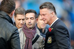 Manchester United Manager Louis van Gaal poses with fans during the warm up - Photo mandatory by-line: Rogan Thomson/JMP - 07966 386802 - 02/11/2014 - SPORT - FOOTBALL - Manchester, England - Etihad Stadium - Manchester City v Manchester United - Barclays Premier League.