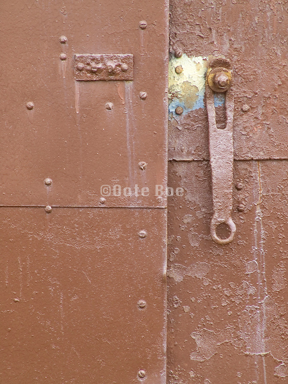 Close up of an old metal door