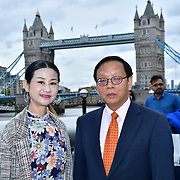"Honourable 卢海田 参赞 the counsellor Lu Hai Tian from the Chinese embassy in London attends The celebration of the 70th China National Day 2019 and a Chinese ""Qipao"" flash mob, London, 28 September 2019, UK."