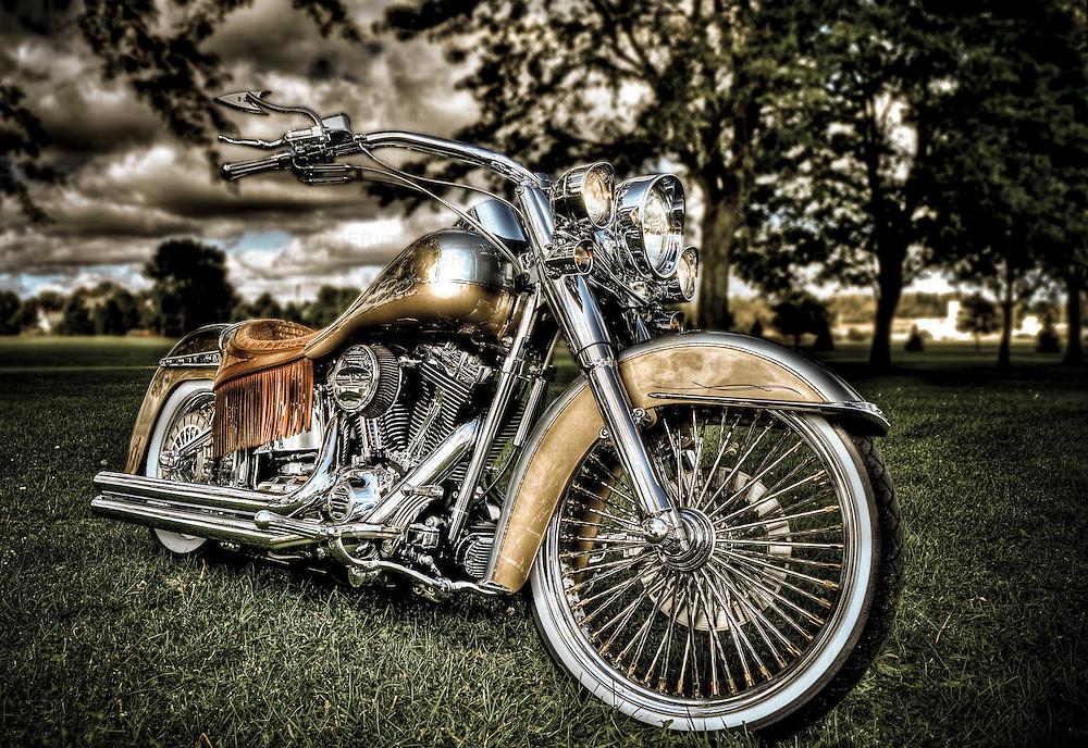 hdr of a custom Harley Davidson Motorcycle