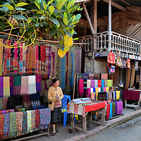 Colorful Woven Textiles on Display in Ban Xang Hai in Laos<br />