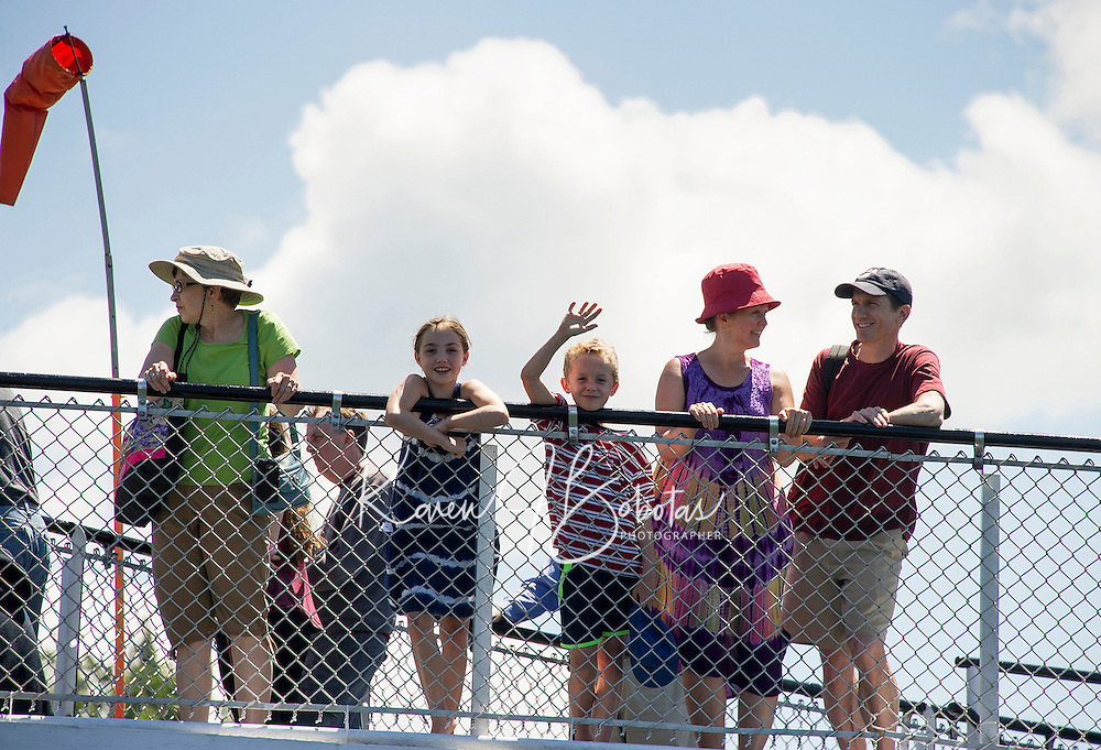 Passengers on board the Mount Washington ready for departure from the Wolfeboro town docks.  (Karen Bobotas/Photographer)