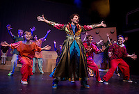 """Jack Harding as Joseph with the ensemble during dress rehearsal for """"Joseph and the Amazing Technicolor Dreamcoat"""" at the Winnipesaukee Playhouse Thursday evening.  (Karen Bobotas/for the Laconia Daily Sun)"""