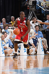 28 December 2006: Rutgers guard (1) Marquis Webb during a 87-48 Rutgers Scarlet Knights loss to the North Carolina Tarheels, in the Dean Smith Center in Chapel Hill, NC.<br />