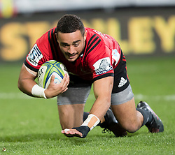 Crusaders' Bryn Hall dives to score a try against the Highlanders in the Super Rugby match, Forsyth Barr Stadium, Dunedin, New Zealand, Saturday, March 17, 2018. Credit:SNPA / Adam Binns ** NO ARCHIVING**