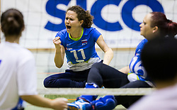 Lena Gabrscek of Slovenia reacts during friendly Sitting Volleyball match between National teams of Slovenia and China, on October 22, 2017 in Sempeter pri Zalcu, Slovenia. (Photo by Vid Ponikvar / Sportida)