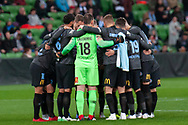 Melbourne City FC team huddle before the FFA Cup Round 16 soccer match between Melbourne City FC v Newcastle Jets at AAMI Park in Melbourne.