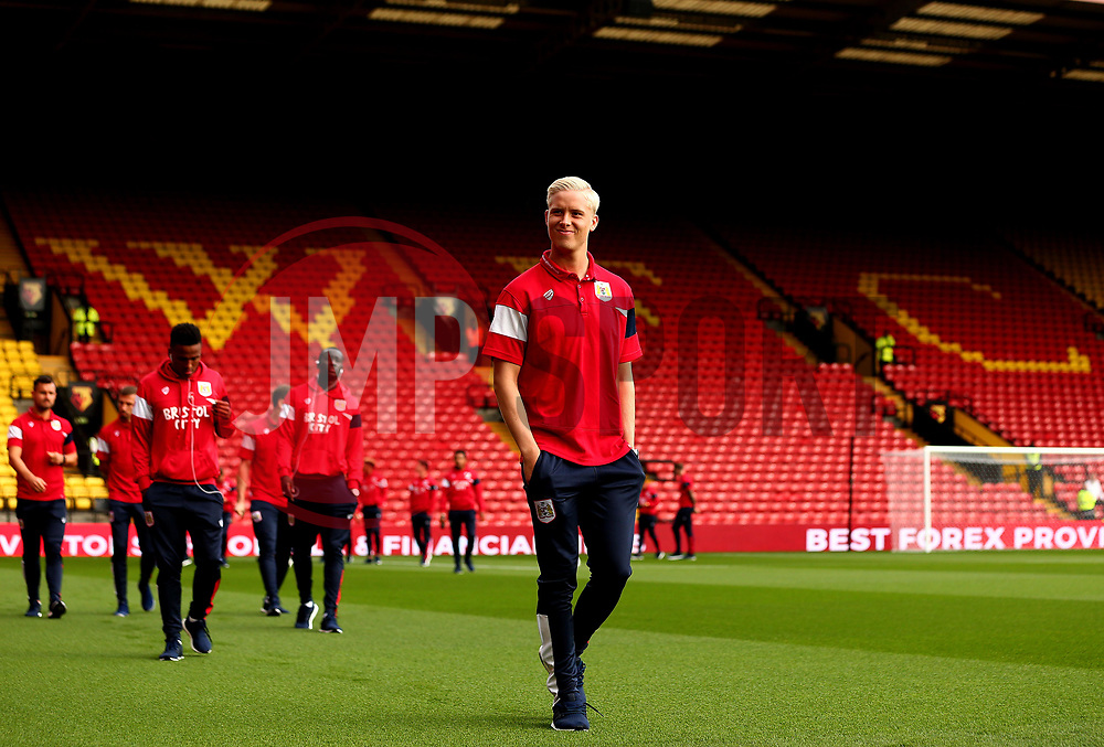 Hordur Magnusson of Bristol City arrives at Vicarage Road for his side's Carabao Cup Match against Watford - Mandatory by-line: Robbie Stephenson/JMP - 22/08/2017 - FOOTBALL - Vicarage Road - Watford, England - Watford v Bristol City - Carabao Cup