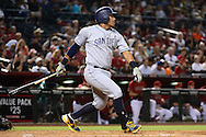 PHOENIX, AZ - JULY 06:  Yangervis Solarte #26 of the San Diego Padres hits an RBI single against the Arizona Diamondbacks during the fourth inning at Chase Field on July 6, 2016 in Phoenix, Arizona.  (Photo by Jennifer Stewart/Getty Images)