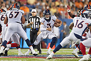 Denver Broncos quarterback Drew Lock (3) runs with the football during the Pro Football Hall of Fame Game at Tom Benson Hall of Fame Stadium, Thursday, Aug. 1, 2019, in Canton, OH. The Broncos defeated the Falcons 14-10. (Robin Alam/Image of Sport)