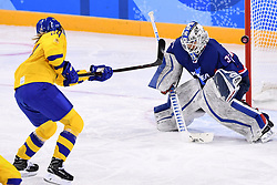 PYEONGCHANG, Feb. 12, 2018  Sweden's forward Erika Grahm (L) scores a goal during their preliminary match of women's ice hockey against the unified team of the Democratic People's Republic of Korea (DPRK) and South Korea at the Pyeongchang 2018 Winter Olympic Games at the Kwandong Hockey Centre in Gangneung, South Korea, on Feb. 12, 2018. Team Sweden won 8:0. (Credit Image: © Ju Huanzong/Xinhua via ZUMA Wire)