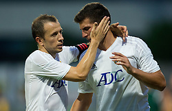 Matic Igor of FK Cukaricki and Pavlovic Andrija of FK Cukaricki during 1st Leg football match between NK Domzale (SLO) na FC Cukaricki (SRB) in 1st Round of Europe League 2015/2016 Qualifications, on July 2, 2015 in Sports park Domzale,  Slovenia. Photo by Vid Ponikvar / Sportida