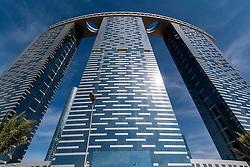 Modern new recently completed high-rise apartment tower The Gate at Al Reem Island on Al Reem Island in Abu Dhabi United Arab Emirates UAE