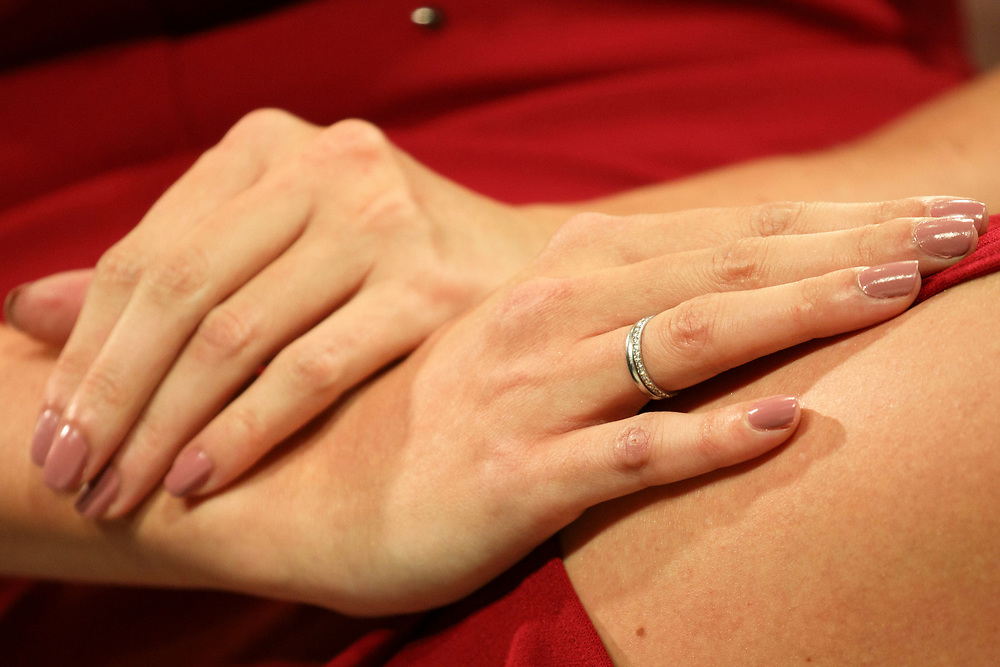 A ring detail on the right hand of Ivanka Trump, daughter of Republican Presidential Nominee Donald Trump, speaks during the Fortune Most Powerful Women Summit in Dana Point, California, U.S., on Wednesday, October 19, 2016. The summit brings preeminent women in business and leadership together for discussions and high-level networking. © 2016 Patrick T. Fallon