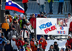 Fans of Klemen Bauer of SLovenia during the Men 20 km Individual of the e.on IBU Biathlon World Cup on Thursday, December 16, 2010 in Pokljuka, Slovenia. The fourth e.on IBU World Cup stage is taking place in Rudno Polje - Pokljuka, Slovenia until Sunday December 19, 2010.  (Photo By Vid Ponikvar / Sportida.com)