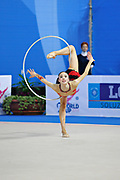 Hayakawa Sakura during qualifying at hoop in Pesaro World Cup 26 April 2013. Sakura is a Japan rhythmic gymnastics athlete born March 17, 1997 in Osaka, Japan. She appeared in Senior competitions in the 2013 season.