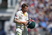 Wicket - David Warner of Australia looks dejected as he walks back to the pavilion after being dismissed by Jofra Archer of England during the 5th International Test Match 2019 match between England and Australia at the Oval, London, United Kingdom on 13 September 2019.