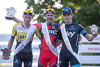 Jean-Pierre Drucker (BMC) beats Mike Teunissen (Team Lotto NL-Jumbo) and Ben Swift (Team Sky) to win the Prudential RideLondon-Surrey Classic, Sunday 2nd August 2015. <br /> <br /> Prudential RideLondon is the world's greatest festival of cycling, involving 95,000+ cyclists – from Olympic champions to a free family fun ride - riding in five events over closed roads in London and Surrey over the weekend of 1st and 2nd August 2015. <br /> <br /> Photo: Jed Leicester for Prudential RideLondon <br /> <br /> See www.PrudentialRideLondon.co.uk for more.<br /> <br /> For further information: Penny Dain 07799 170433<br /> pennyd@ridelondon.co.uk