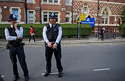 © Licensed to London News Pictures. 07/09/2017. London, UK. Police watch over at Thomas's Battersea in south London where PRINCE GEORGE started his first day at school today. Photo credit: Ben Cawthra/LNP