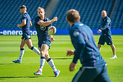 Rory Hutchison passes to a team mate during the Scotland Rugby training run ahead of their match against France at BT Murrayfield Stadium, Edinburgh, Scotland on 23 August 2019.