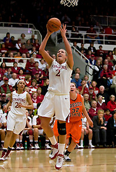 February 20, 2010; Stanford, CA, USA;  Stanford Cardinal forward/center Jayne Appel (2) shoots past Oregon St. Beavers forward Kirsten Tilleman (32) during the second half at Maples Pavilion.  Stanford defeated Oregon State 82-48.
