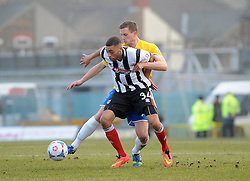 Bristol Rovers' Lee Mansell challenges Grimsby's Christian Jolley - Photo mandatory by-line: Neil Brookman/JMP - Mobile: 07966 386802 - 14/02/2015 - SPORT - Football - Cleethorpes - Blundell Park - Grimsby Town v Bristol Rovers - Vanarama Football Conference