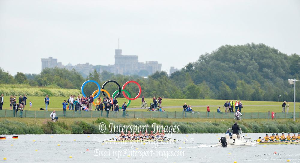 Eton Dorney, Windsor, Great Britain,..2012 London Olympic Regatta, Dorney Lake. Eton Rowing Centre, Berkshire[ Rowing]...Start, Women's Eights. GBR W8+, GER W8+ NED W8+. AUS W8+ Dorney Lake. 10:55:18  Tuesday  10:55:18   [Mandatory Credit: Peter Spurrier/Intersport Images].