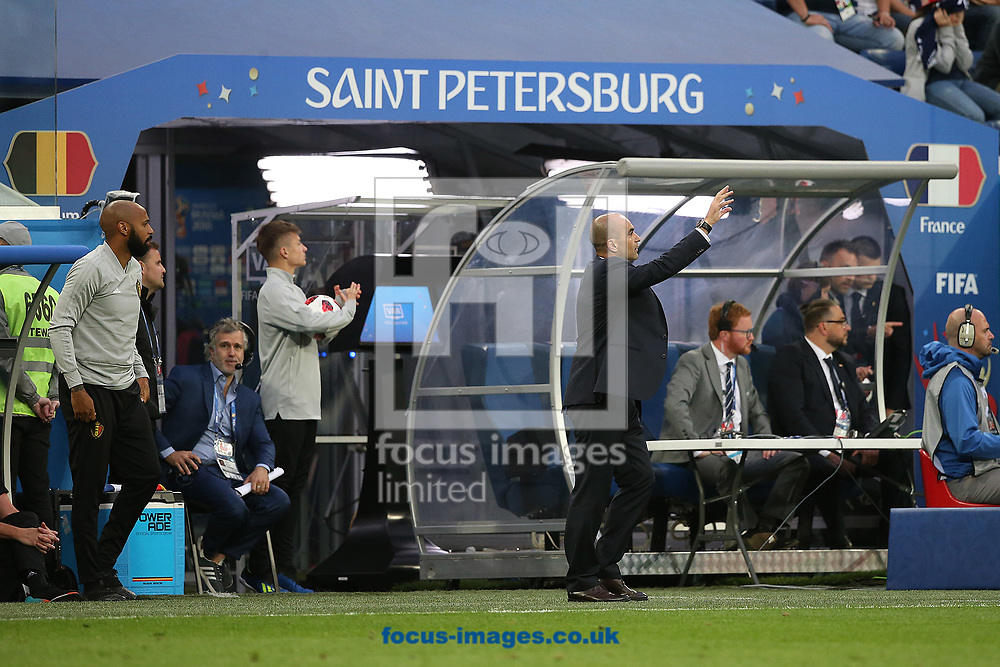 Belgium Assistant coach Thierry Henry and Belgium Manager Roberto Martinez during the 2018 FIFA World Cup match at St Petersburg Stadium, St Petersburg<br /> Picture by Paul Chesterton/Focus Images Ltd +44 7904 640267<br /> 10/07/2018