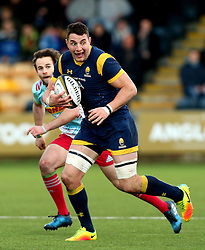 Phil Dowson (c) of Worcester Warriors runs with the ball - Mandatory by-line: Robbie Stephenson/JMP - 28/01/2017 - RUGBY - Sixways Stadium - Worcester, England - Worcester Warriors v Harlequins - Anglo Welsh Cup