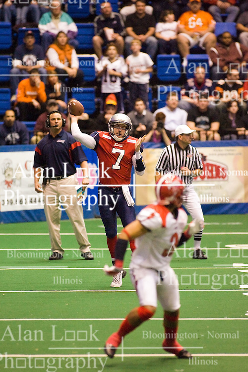 14 March 2009: Mitch Tanney steps into a pass. The Sioux Falls Storm were hosted by the Bloomington Extreme in the US Cellular Coliseum in downtown Bloomington Illinois.