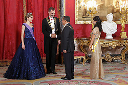 07.07.2015, Royal Palace, Madrid, ESP, Perus Pr&auml;sident Ollanta Humala bei K&ouml;nig Felipe IV, im Bild Spanish Royals King Felipe VI of Spain and Queen Letizia of Spain receive the president of the republic of Peru, Mr. Ollanta Humala Tasso, y Mss. Nadine Heredia Alarcon // during a visit of the President of Peru, Ollanta Humala at Spain's royal family at the Royal Palace in Madrid, Spain on 2015/07/07. EXPA Pictures &copy; 2015, PhotoCredit: EXPA/ Alterphotos/ Victor Blanco<br /> <br /> *****ATTENTION - OUT of ESP, SUI*****
