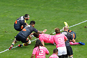 Alexandre Flanquart (Stade Francais) scored a try, Jeremy Sinzelle (Stade Francais), Afa AMOSA (Stade Rochelais) during the French Championship Top 14 Rugby Union match between Stade Francais and Stade Rochelais, on September 2, 2017 at Jean Bouin stadium in Paris, France - Photo Stephane Allaman / ProSportsImages / DPPI