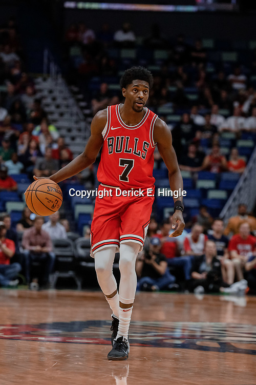 Oct 3, 2017; New Orleans, LA, USA; Chicago Bulls guard Justin Holiday (7) against the New Orleans Pelicans during the first half of a NBA preseason game at the Smoothie King Center. Mandatory Credit: Derick E. Hingle-USA TODAY Sports